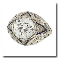 Inv. #14974  Art Deco 4.5ct Diamond and Sapphire Ring c1920s Platinum USA. Lawrence Jeffrey Estate Jewelers