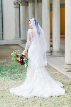 Classic + stunning lace bridal look: http://www.stylemepretty.com/california-weddings/pasadena/2016/05/30/these-marines-winter-wedding-is-the-royal-wedding-2-0/ | Photography:Brett Hickman Photographers - http://bretthickman.com/