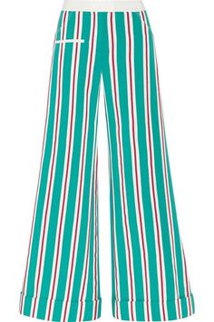 Rosie Assoulin - Ribbon B Boy Striped Cotton-blend Grosgrain Pants - Teal - US8