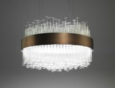 Nella Vetrina My Lamp chandelier. 350 glass tubes.