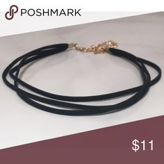 "Layered Black Suede Choker necklace NOT NASTY GAL! This cute faux suede choker is finished a with 4"" antique gold chain and lobster clasp.  Measurements:  Choker length - approx 12""  Extender chain - approx 4"" Nasty Gal Jewelry Necklaces"