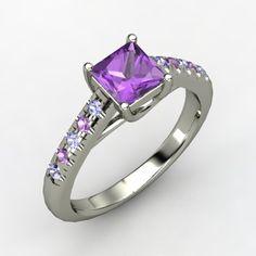 Princess Amethyst Palladium Ring with Tanzanite & Amethyst  =$830