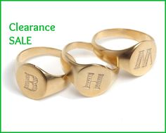 """CLEARANCE SALE, Signet ring, US Size 6.5, Engraved Letter - """"M"""", 14K Gold plated, Personalized ring, Engraved ring, Pinky Ring, Gift idea"""
