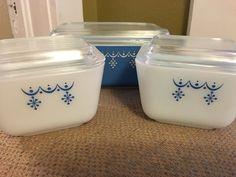 Pyrex snowflake garland refrigerator dish by BargainHuntingMom on Etsy
