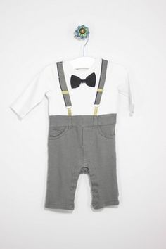 Cherokee Size 0-3M Bow Tie & Suspenders One Piece