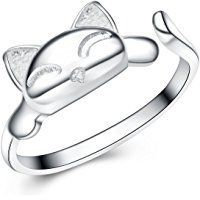 S&E Women's 925 Sterling Silver Rings Simple Cute Cat Design Opening Finger Ring