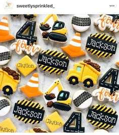 Jackson's turning 4 years old! 3 Year Old Birthday Party Boy, 2nd Birthday Party Themes, Second Birthday Ideas, First Birthday Parties, 3rd Birthday, Construction Cookies, Construction Birthday Parties, Construction Party, Birthday Cookies
