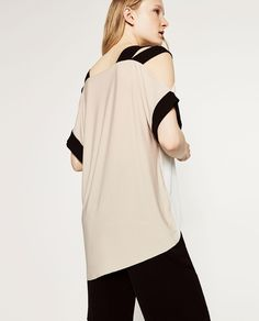 Image 3 of CUT-OUT SHOULDER T-SHIRT from Zara