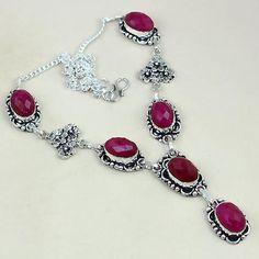 Rub 454a collier parure sautoir rubis cachemire achat vente bijoux argent ethniques