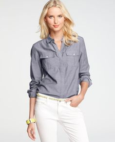 Ann Taylor - AT Blouses Tops - Chambray Button Down Camp Shirt