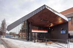 ed2cad0c9a536790068f05dd93071b8f Home Design Decor, House Design, Design Ideas, Best Architects, Alvar Aalto, Metro Station, Metal Buildings, Facade Design, Facade Architecture