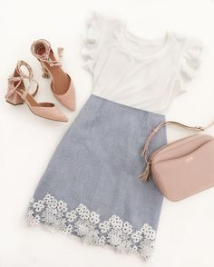 cute spring - summer work outfit ideas // seersucker floral lace skirt + blush nude pumps #dressescasual