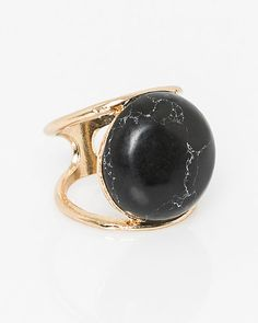 We love the statement-making feel of this metal stone ring. #NightOut #Fashion #Style