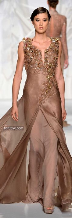 White and Gold Wedding. Gold Bridesmaid Dress. Soft and Romantic. Abed Mahfouz Fall Winter 2014 Haute Couture