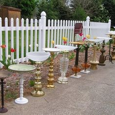 Old lamps = bird baths (Just in the nick of time! I had some lamps headed for the thrift store!)