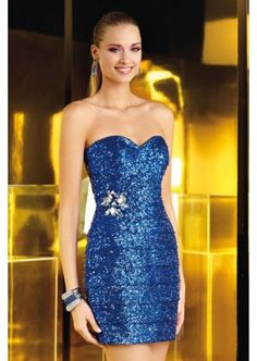 2014 Full Sequined Blue Strapless Sweetheart Fit Mini Cocktail Dress