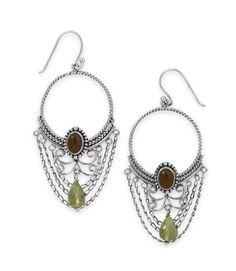 .925 Sterling Silver Multistone Ornate Earrings