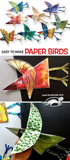 Paper birds for kids Bird Paper Craft, Paper Birds, Paper Crafts For Kids, Birds For Kids, Art For Kids, Paper Child, Advent Calendars For Kids, Fox Crafts, 2nd Grade Art