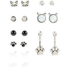 Hot Topic Blackheart Cat Stud Earring Set found on Polyvore featuring jewelry, earrings, multi, stud earrings, fish jewelry, clear crystal earrings, clear stud earrings and clear jewelry