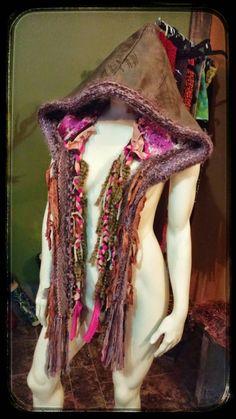 Warm Winter Hood, Scoodie With Braides, Festival Wear, Wearable Art, Unique Hood, Winter Hat, Oversized Hood, Hippie Hat, Dreadlocks