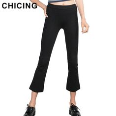 CHICING Casual Wide Leg Pants Bell Bottom Trousers 2016 Women Hight Waist Ankle-Length Capris Black Slim Flared Pants B1602052