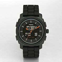 A cool Analog / Digital watch from Fossil. Model is called the Machine Silicone Watch. It is black with orange accents and also has chronograph functions. Water resistant to 5 ATM.