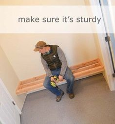 Framing up a Mudroom Bench in a Nook - Ana White Carpentry Projects, Woodworking Projects Plans, Home Projects, Woodworking Beginner, Woodworking Techniques, Woodworking Quotes, Woodworking Patterns, Popular Woodworking, Front Closet