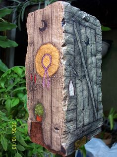 HAND PAINTED ROCK Ladies Outhouse