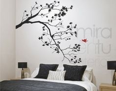 chic home decor Accent Wall Bedroom, Bedroom Decor, Vinyl Wall Decals, Wall Stickers, Wall Painting Decor, Wall Drawing, Creative Walls, Beautiful Wall, Home Interior