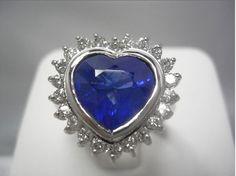 6.35cts  ★B U R M A★  BLUE SAPPHIRE DIAMOND RING 18K GOLD/TGL CERTIFICATE/ cVDO