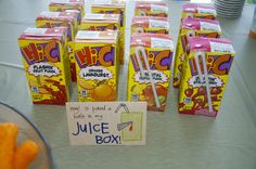 """Juice boxes- Eden says """"awe it poked a hole in my juice box- and it was the perfect little drink for toddlers"""
