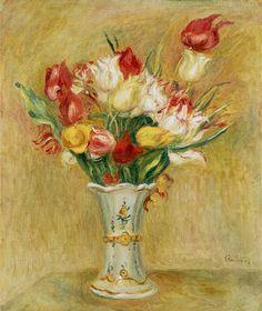 Pierre-Auguste Renoir - Ramo de tulipanes en un jarro blanco