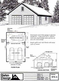 Attic Truss Roof 2 Car Garage Shop Plan 975-5 by Behm Design