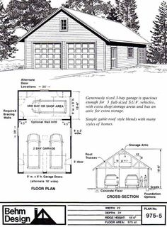 Two car garage with shop and attic truss roof plan 1200 4r for 30 x 40 garage plans with loft