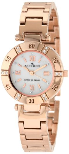 Anne Klein Women's 109466MPRG Swarovski Crystal Mother-of-Pearl Dial and Rosegold-Tone Bracelet Watch: Anne Klein: Amazon.ca: Watches