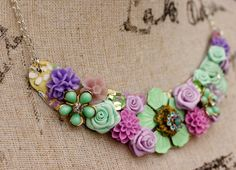 Floral Collage Necklace Vintage Collage by FrenchAtticDesign