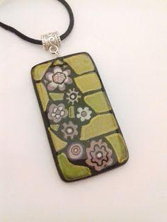 Good Art Day: original handpainted pendant - wearable art - handmade jewel