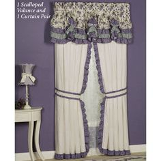Purple Serenade Ruffled Curtain Pair