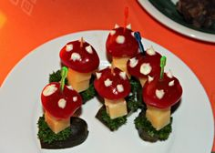 cheese & tomatoes toadstools - party finger food  Fiddly but cute and actually looks quite tasty (kids might eat the cheese at least!)