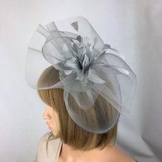 Fascinator Hat silver Grey Saucer headpiece on hairband   Etsy Silver Fascinator, Royal Blue Fascinator, Fascinator Hats, Headpiece, Wire Headband, Silver Headband, Wedding Hats, Wedding Bride, Wedding Fascinators