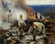 Eero Järnefelt, Kaski/Raatajat rahanalaiset (Burning the Brushwood/Under the Yoke), oil on canvas Ateneum Art Museum, Helsinki, Finland. National romantic art but considered realism art by public. Inspirational Artwork, History Of Finland, Helene Schjerfbeck, Canvas Prints, Art Prints, Oil On Canvas, Helsinki, Art Google, Van Gogh