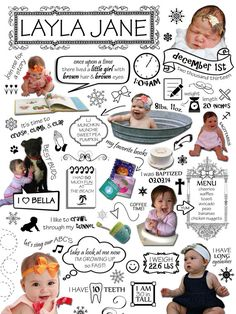 XL Poster - Custom Year One Infographic - Baby's First Year, First Birthday Gift, 1st Year Photo, Statistics, Milestones, Scrapbook, Collage