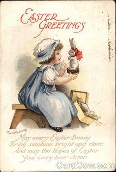 postcard easter children | Easter Greetings Ellen Clapsaddle With Children
