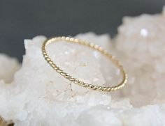 Twisted Gold Ring  - Solid 14k Yellow Gold - Delicate Thin Skinny Stacking Ring - One Ring - Eco Friendly Recycled Gold