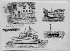 Salcombe estuary views. Ink drawings, 1997