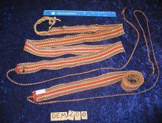 Vuoddagat. Skallebånd for mann. Traditional woven sami shoe bands (male).