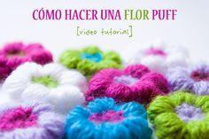 Vídeo tutorial en el que te enseño a hacer una flor puff de ganchillo   ༺✿Teresa Restegui http://www.pinterest.com/teretegui/✿༻