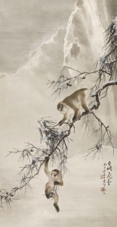 Gao Qifeng, Monkeys and Snowy Pine, 1916, hanging scroll, ink and color on paper | Hong Kong Museum of Art