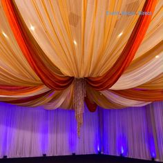EventDecorDirect.com is the #1 supplier of professional ceiling draping kits at factory-direct prices. Choose from a huge variety of styles, colors and sizes. We also offer accessories that allow you to drape a ceiling without a ladder! Our ceiling draping kits are ideal for weddings, events, parties, corporate events, banquet halls, event centers and much more. Enjoy FREE SHIPPING on all of our ceiling draping kits. Shop Now at EventDecorDirect.com | Questions? Call Us Today 1-800-914-3538 Ceiling Draping Wedding, Wedding Backdrop Design, Desi Wedding Decor, Wedding Stage Decorations, Backdrop Decorations, Mehendi Decor Ideas, Mehndi Decor, Event Decor Direct, Creation Deco