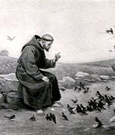St Francis preaching to his flock.